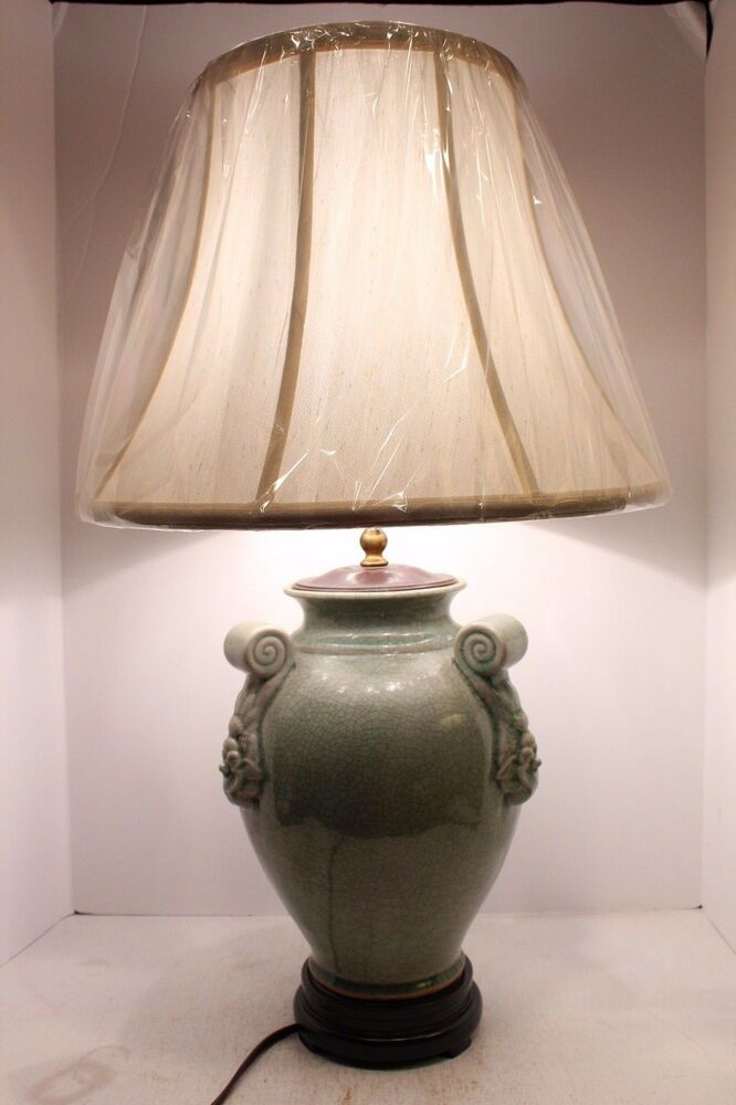 Unique Oriental Celadon Crackle Porcelain Table Lamp Shade