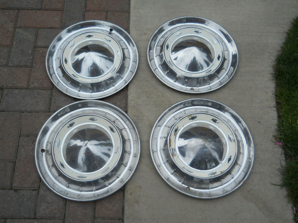 55 Chevy Pass Car Full Cover Hubcaps Set Of 4 Ebay
