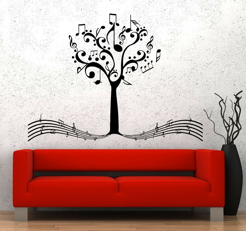 Music Bedroom: Wall Vinyl Music Notes Tree For Bedroom Guaranteed Quality