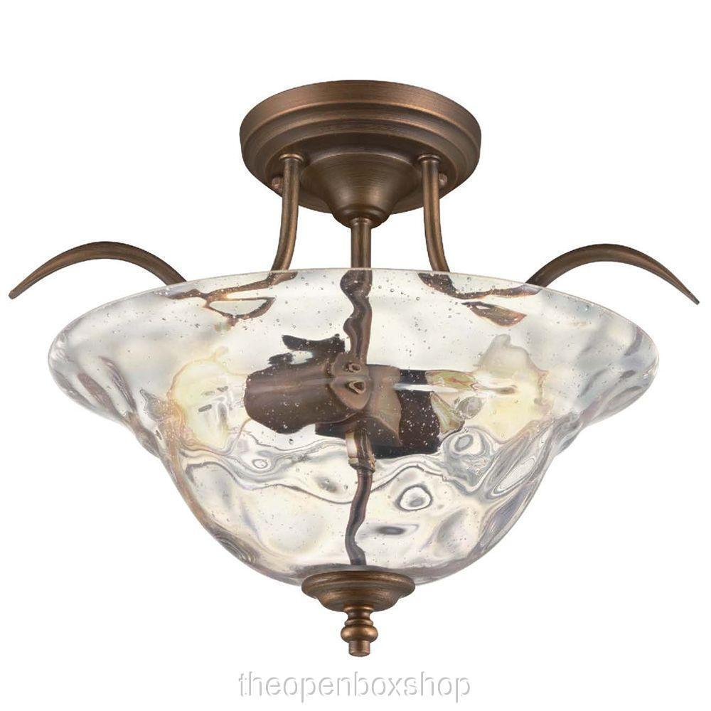 Hampton Bay Grace 2 Light Rubbed Bronze Semi Flush Mount