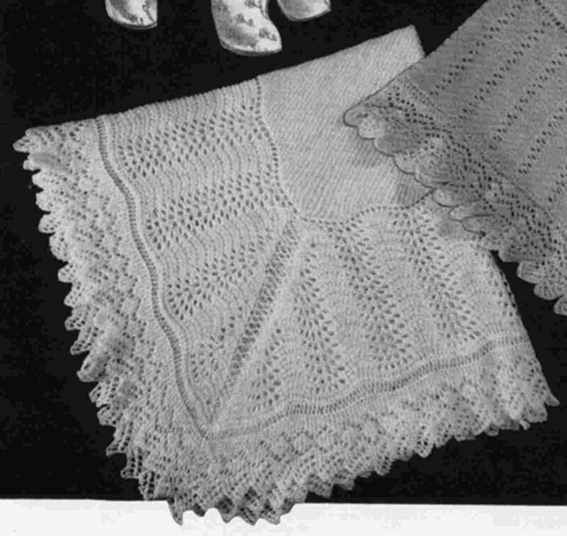 Knitted Flowers Free Patterns : Knitting Pattern- Vintage shetland shawl pattern in Baby Fingering wool eBay