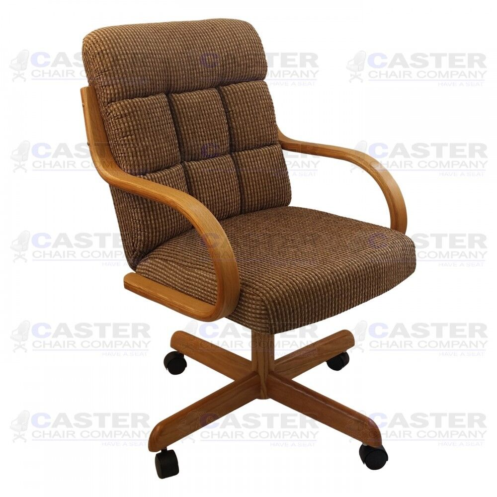 Casual caster dining arm chair swivel tilt oak wood set for Wood dining chairs with arms