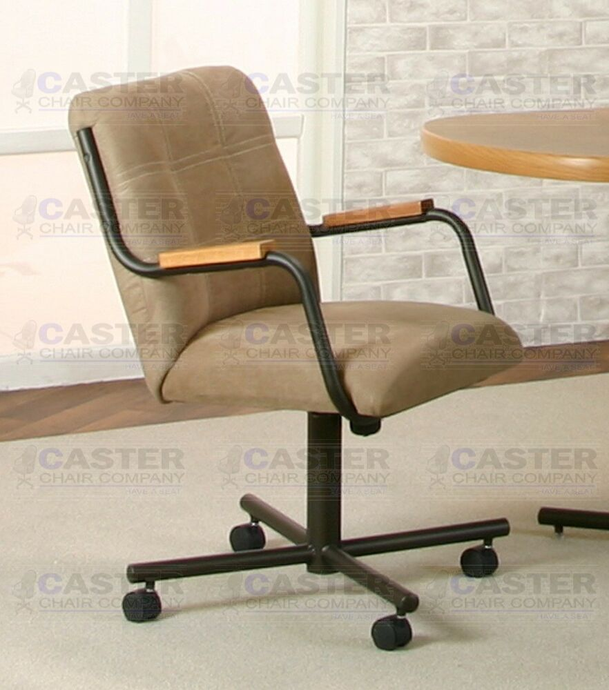 Casual Caster Dining Arm Chair Swivel Tilt in Microsuede ...