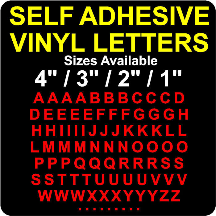 Self Adhesive Vinyl Letters 1 Quot 25mm 2 Quot 3 Quot And 4