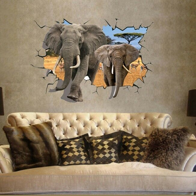 wandtattoo wandsticker 3d sticker kinderzimmer elefanten sticker tiere aufkleber ebay. Black Bedroom Furniture Sets. Home Design Ideas