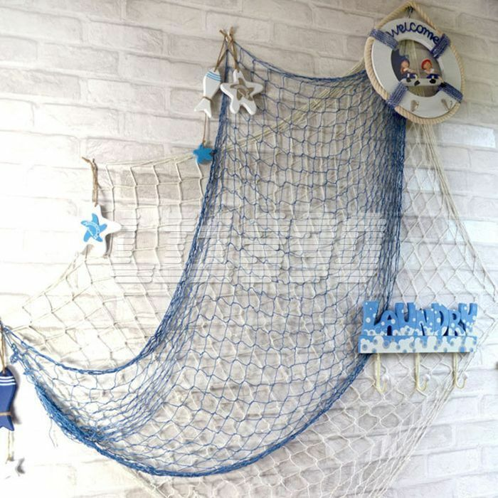 White blue decorative nautical fishing net beach party for Net decoration ideas