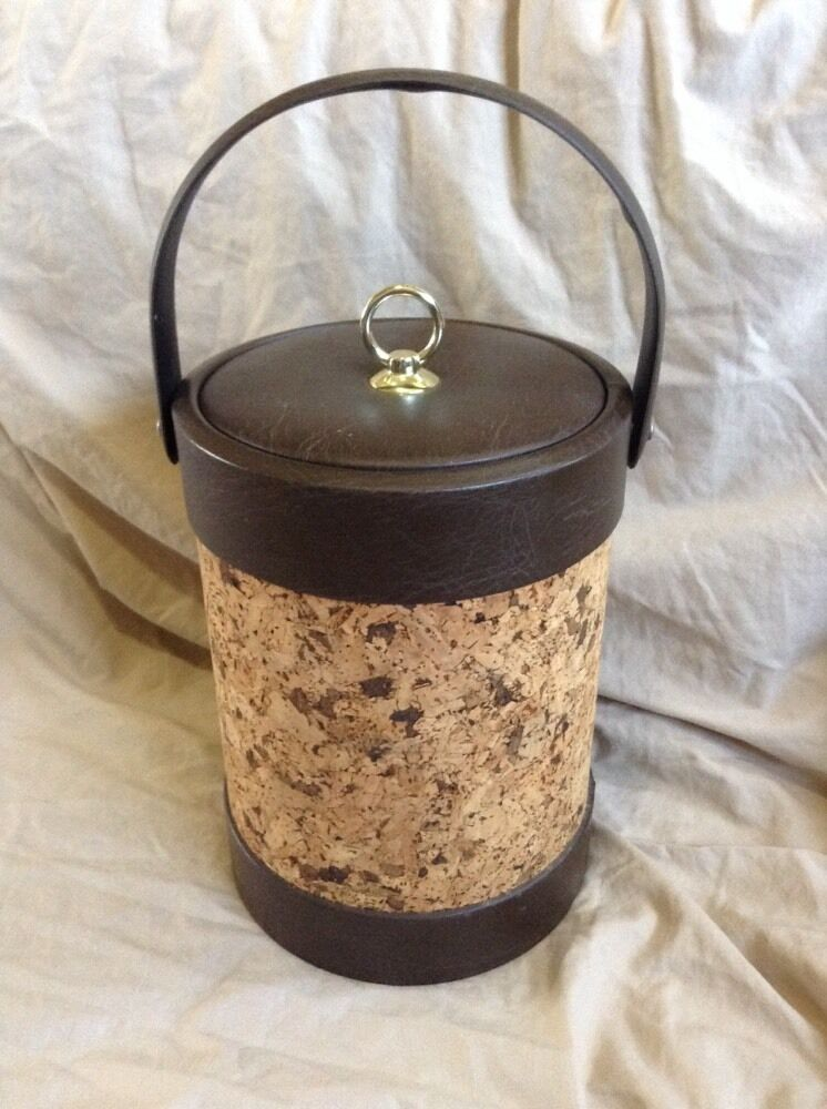 Vintage Cork Amp Faux Leather Bar Ice Bucket Retro Brown