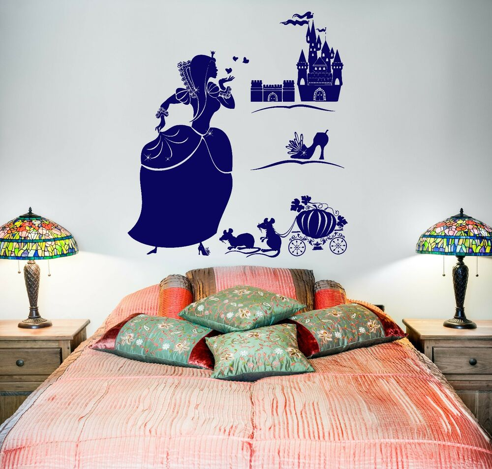 Wall decal girl cinderella castle shoe fairy tale vinyl for Castle wall mural sticker