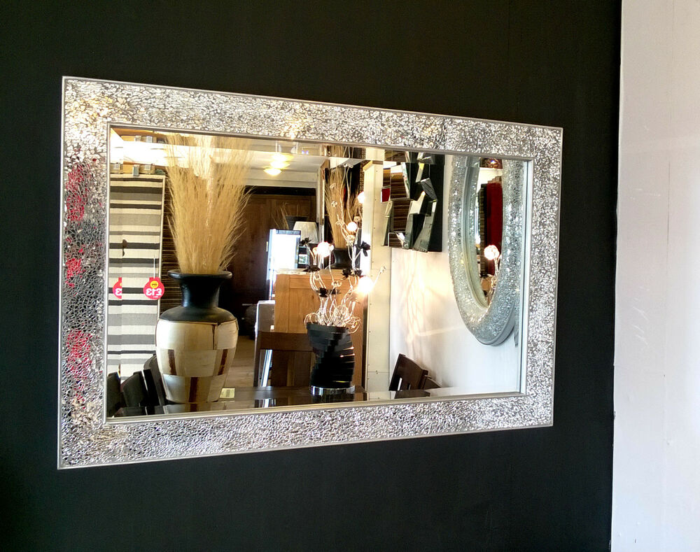 Crackle Design Wall Mirror Modern Silver Frame Mosaic