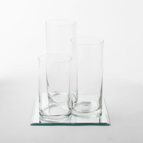 Eastland Square Mirror And Cylinder Vases Centerpiece 4 Piece Set 3 Sizes
