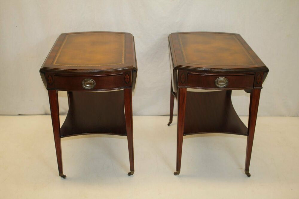 American Mahogany Leather Top Drop Leaves Tables W One Drawer