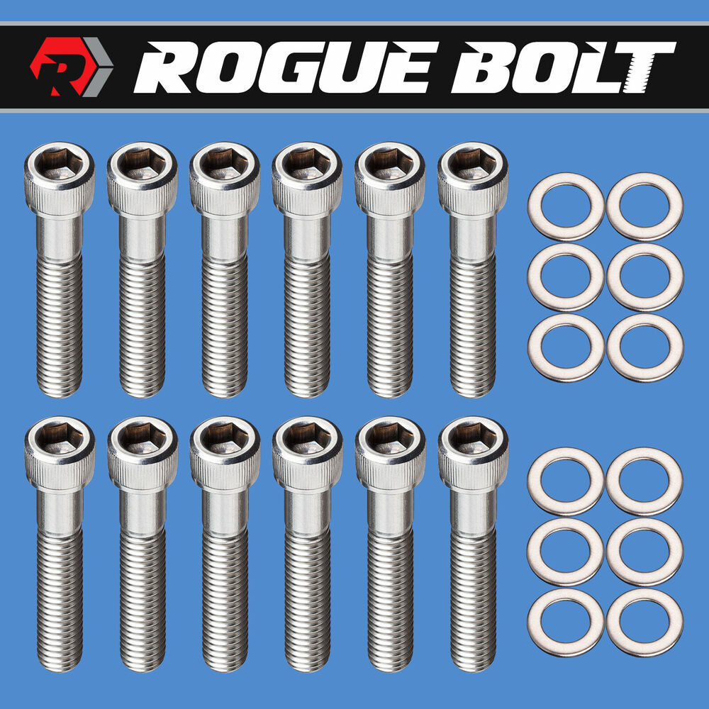 """SBC EXHAUST MANIFOLD BOLTS """"LOG STYLE"""" STAINLESS SMALL"""