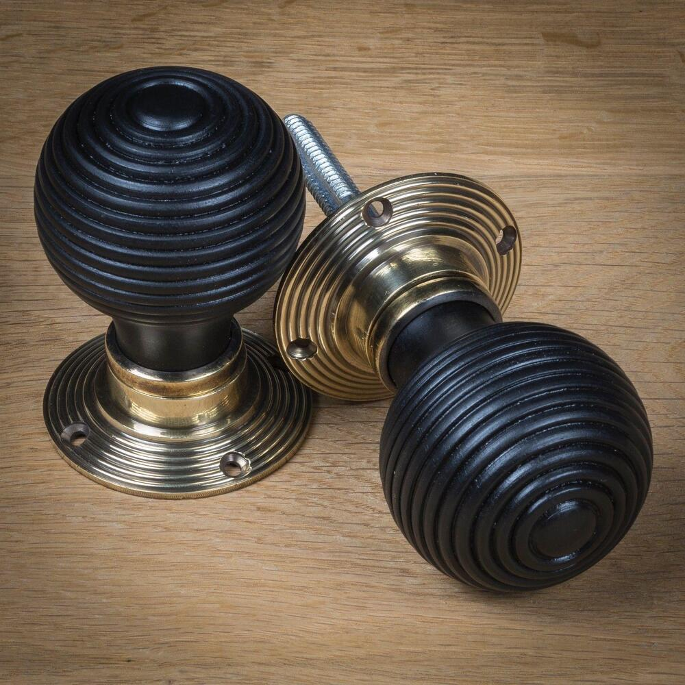 Brass wood beehive door knob handle black hard wood for Small door knobs and handles