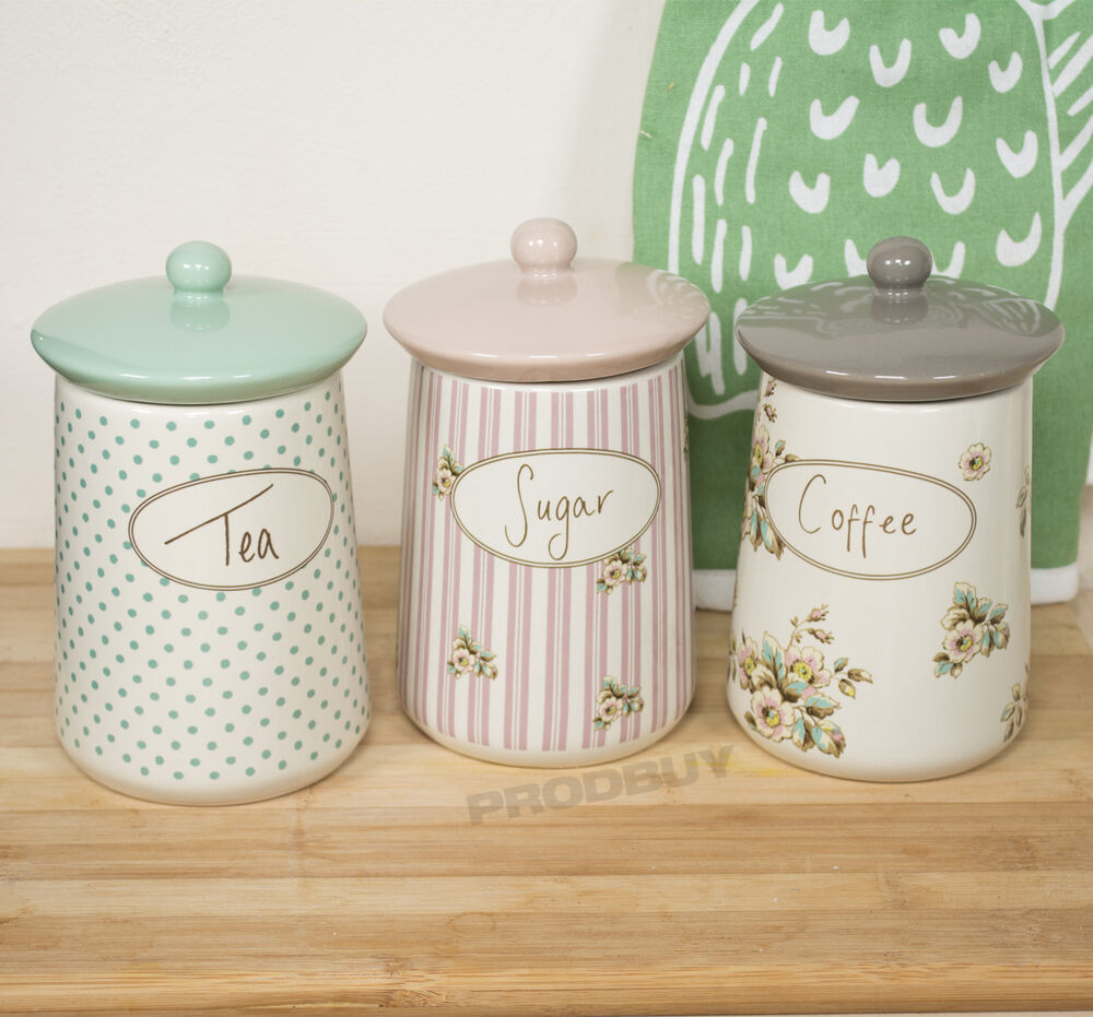 Set of 3 katie alice cottage flower tea coffee sugar storage jars canisters pots ebay - Coffee tea and sugar canisters ...