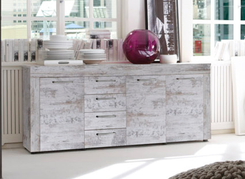 kommode sideboard pinie weiss shabby wohnzimmer schrank anrichte esszimmer river ebay. Black Bedroom Furniture Sets. Home Design Ideas