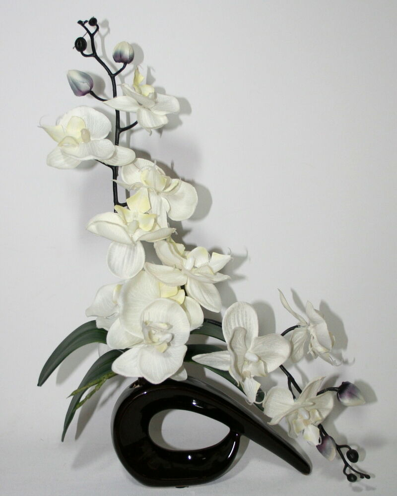 Artificial Silk Ivory/Cream Orchid Flower Arrangement With ...