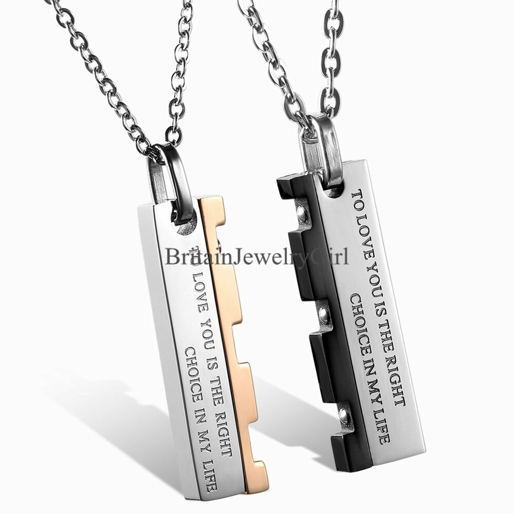 mens womens stainless steel pendant chain couple love