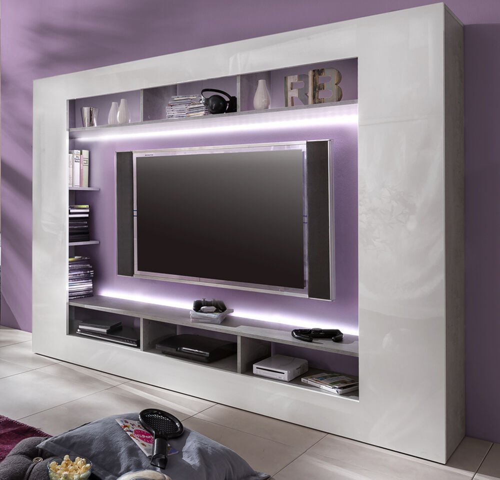 wohnwand medienwand weiss hochglanz beton design fernsehschrank tv hifi speed ebay. Black Bedroom Furniture Sets. Home Design Ideas