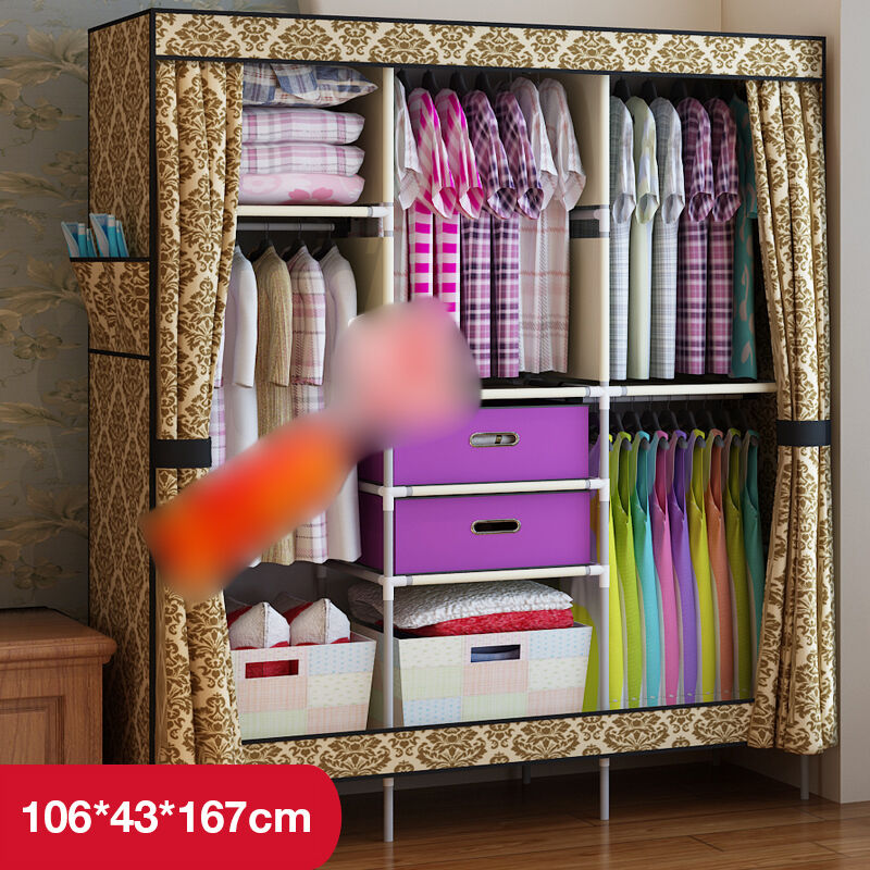 european new clothes hanging armoire closet storage organizer foldable wardrobe ebay. Black Bedroom Furniture Sets. Home Design Ideas
