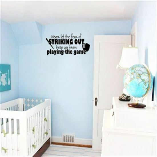 Huhome Pvc Wall Stickers Wallpaper English Never Lef Baseball