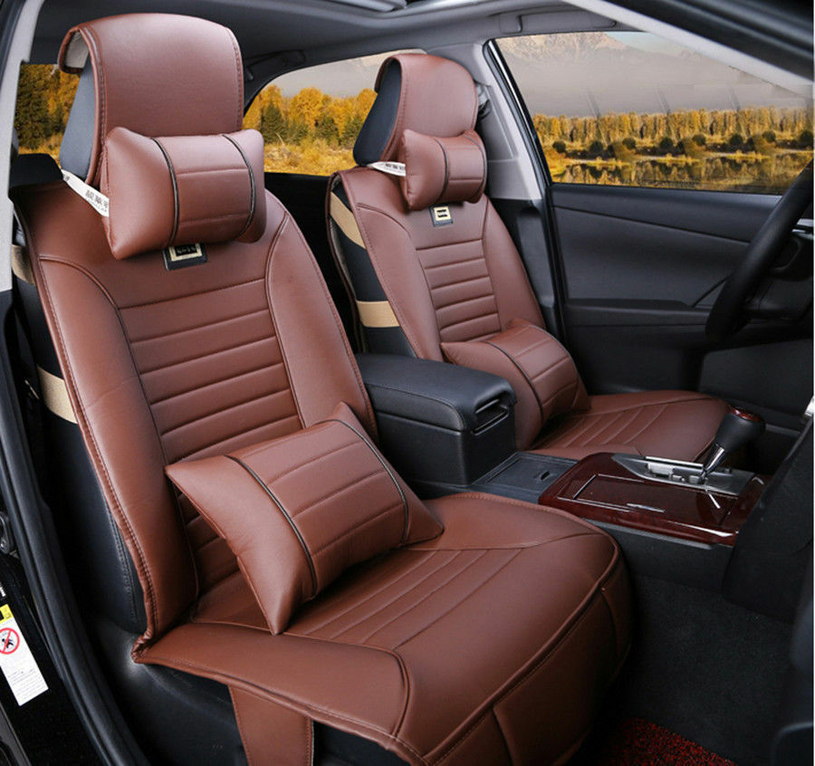 10pcs brown pu leather 5 seats car seat cover for beetle crv cruze ats sonata q5 ebay. Black Bedroom Furniture Sets. Home Design Ideas