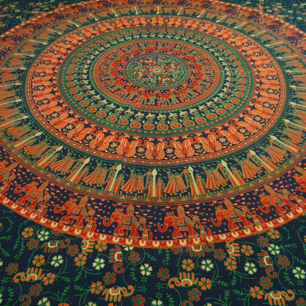 mandala indische wandbehang tapisserie baumwolle twin dekor wurf tp1772c ebay. Black Bedroom Furniture Sets. Home Design Ideas