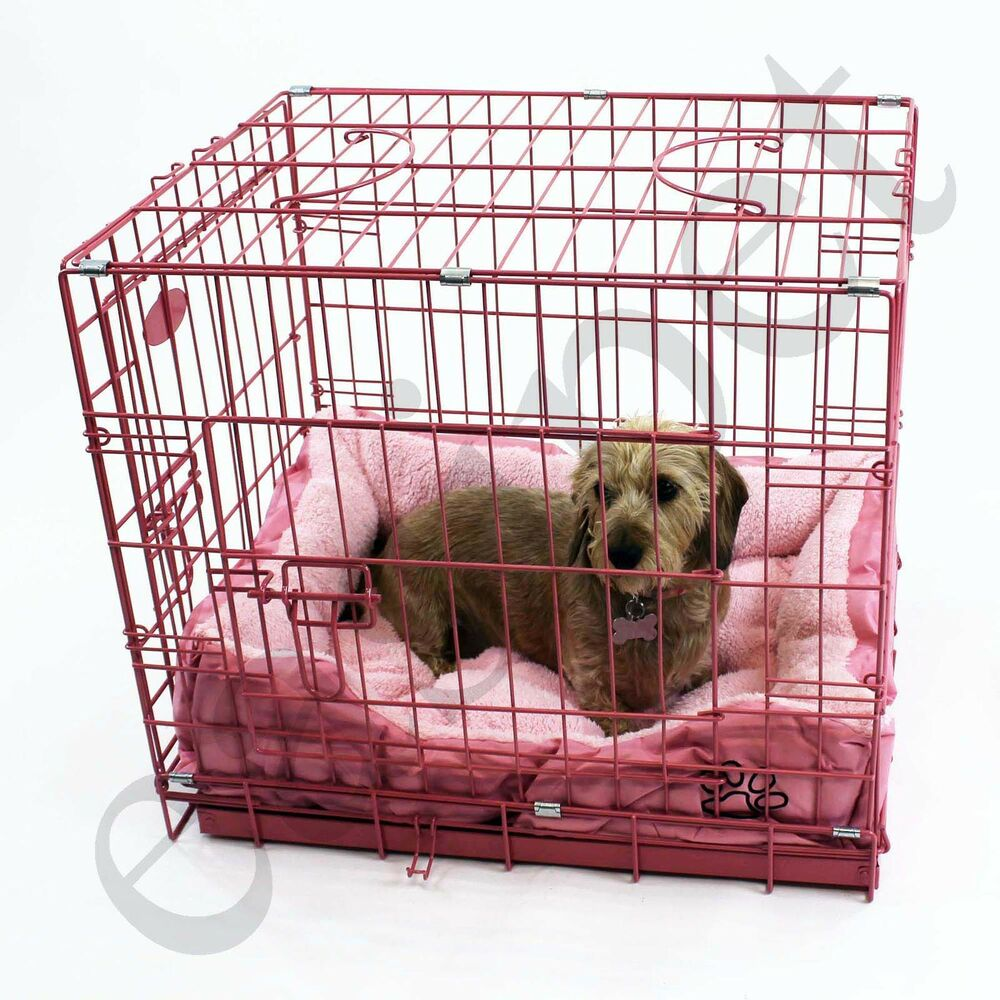 Pink Dog Puppy Metal Training Cage Crate Carrier with Faux ... - photo#9