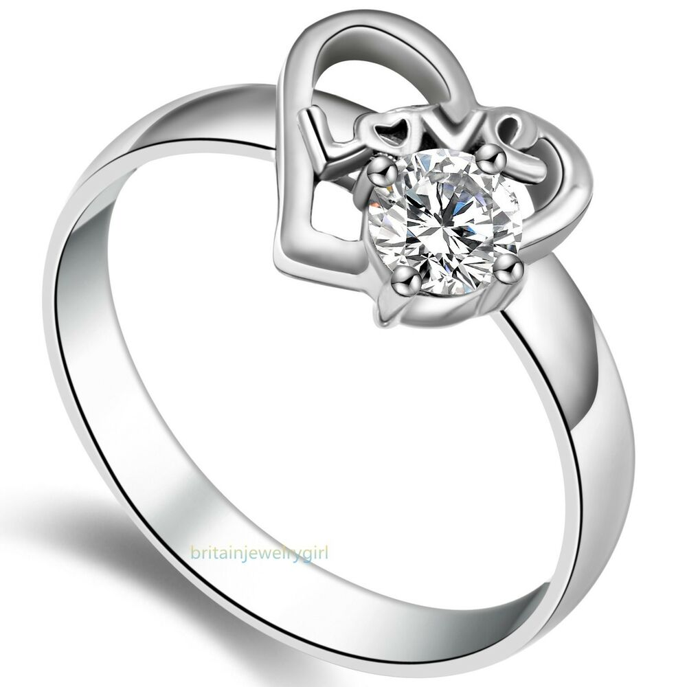heart wedding ring stainless steel ring w cz women s promise 4775