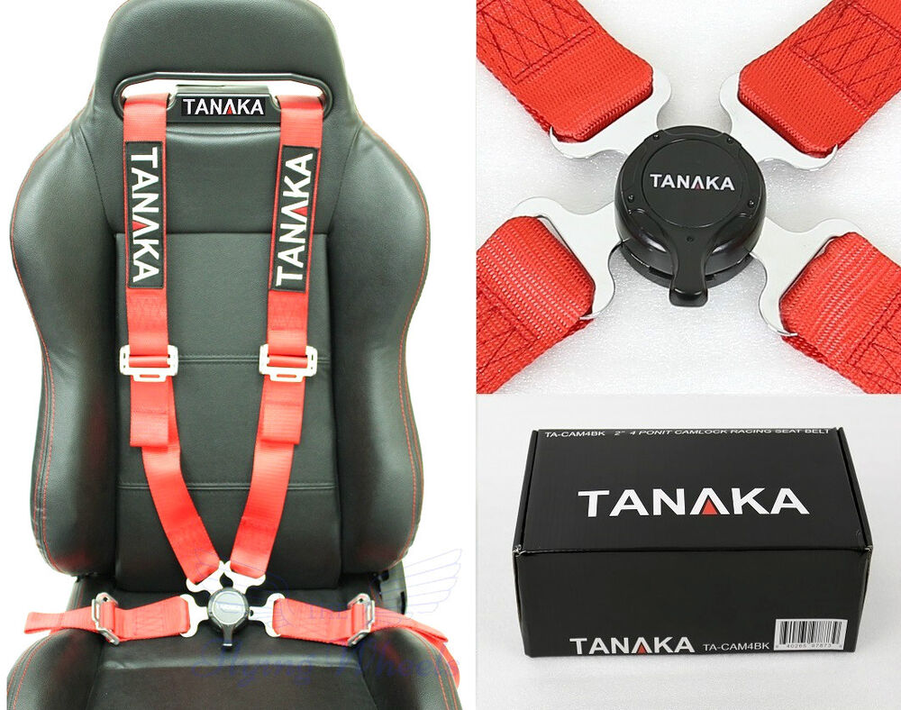 5 Point Harness Car Seat >> 1 TANAKA UNIVERSAL RED 4 POINT CAMLOCK QUICK RELEASE RACING SEAT BELT HARNESS | eBay