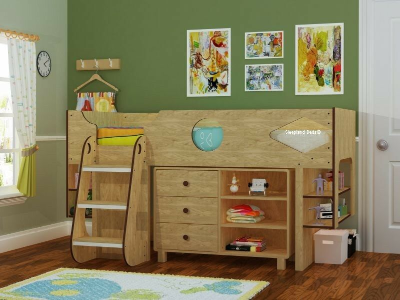 ollie cabin bed oak effect midsleeper bed storage 17528 | s l1000