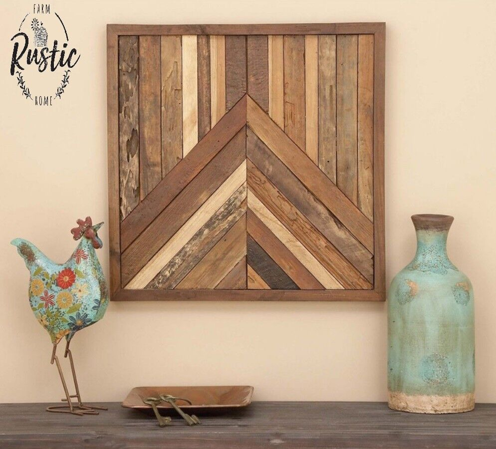 Reclaimed Teak Geometric Square Wood Sculpture Wall Decor