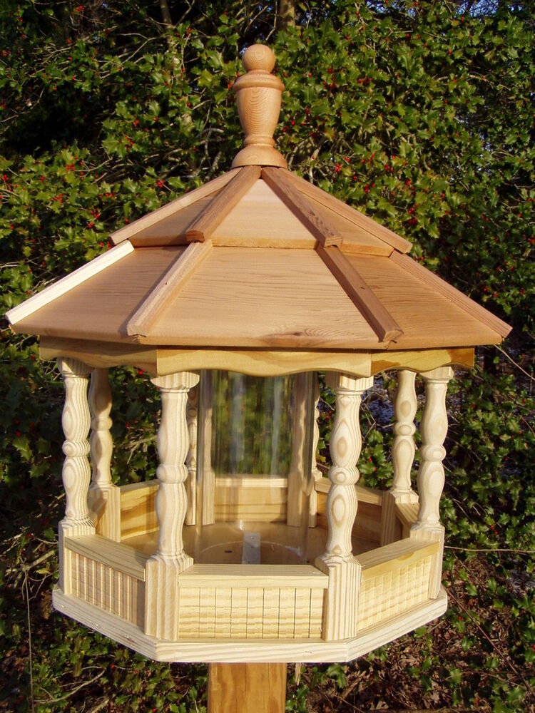 Large spindle gazebo bird feeder wood amish homemade for Large wooden gazebos