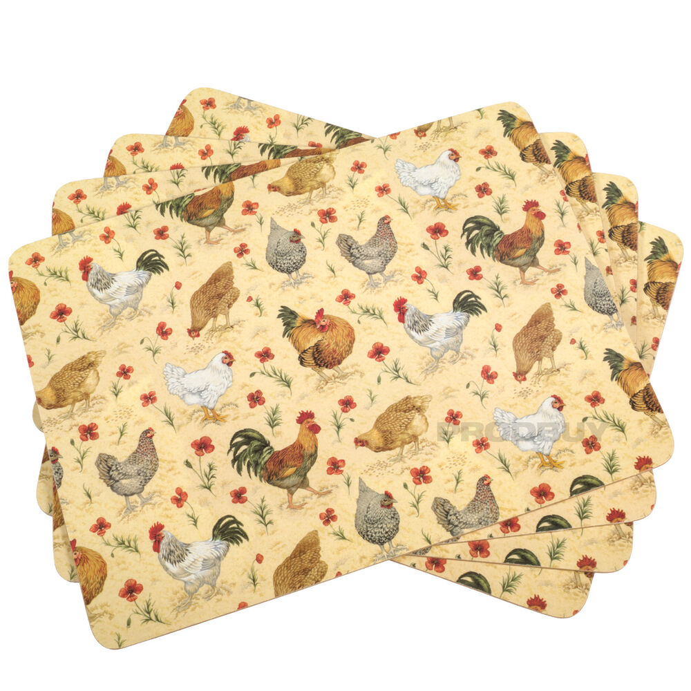 Set Of 8 Placemats Cream Chickens Cork Backed Dining Table