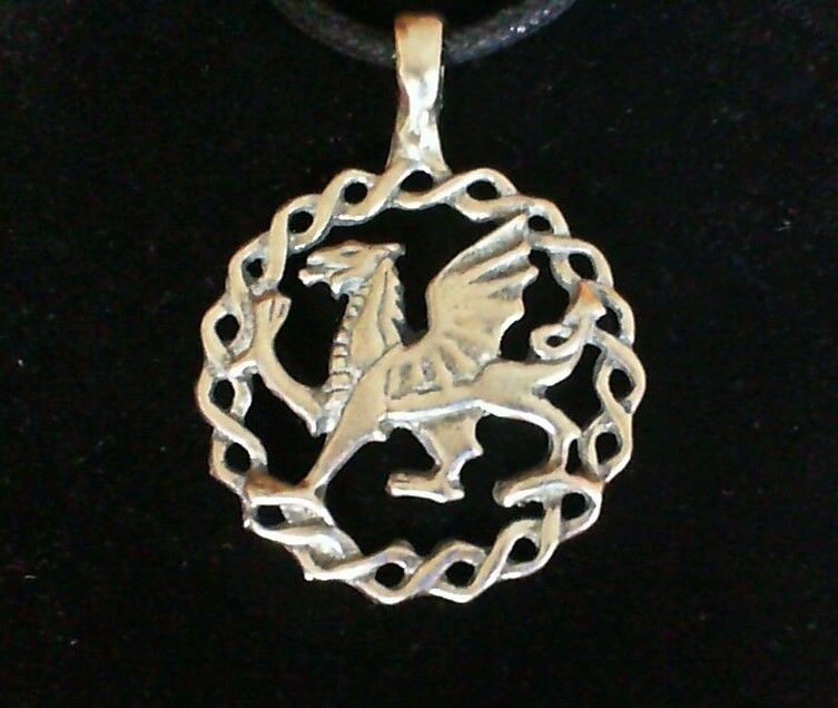 Welsh Dragon Pewter Pendant Necklace New Made In Usa