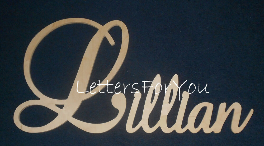 Script Decorative Wooden Wall Name Connected Letters Unpainted EBay