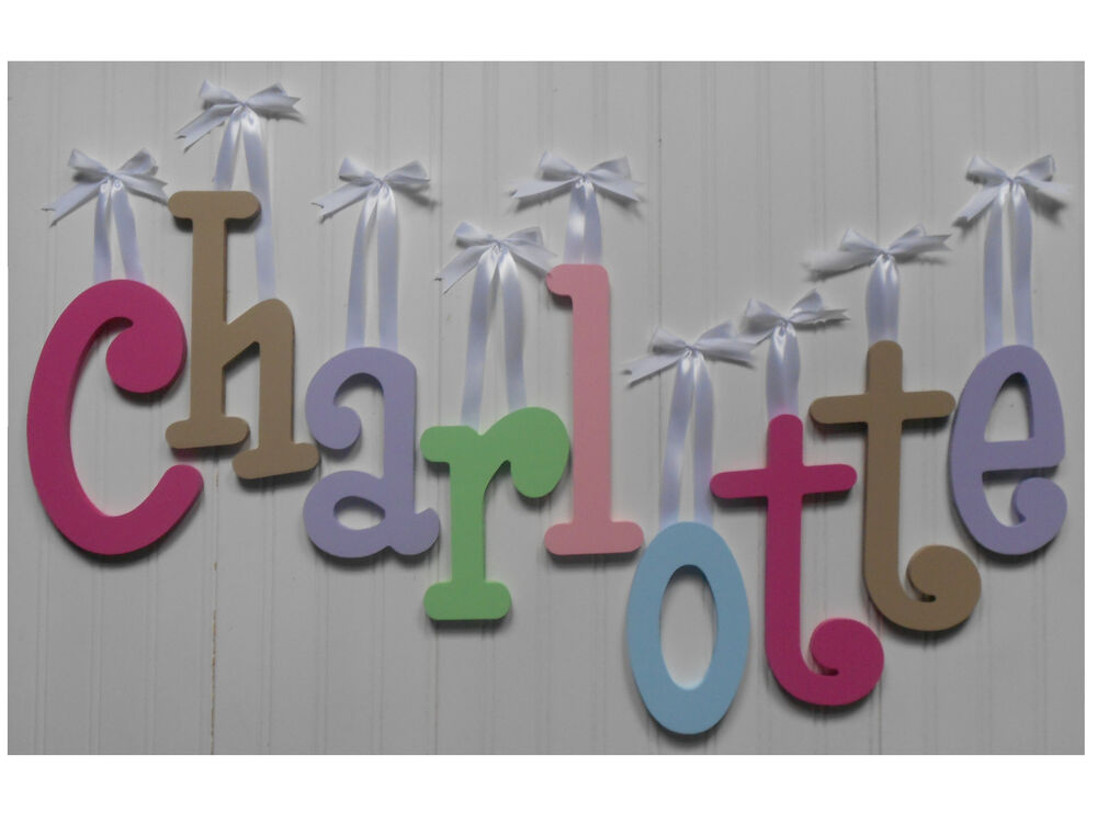 wooden wall letters wood wall letters 8 quot size painted wooden names children 25680 | s l1000