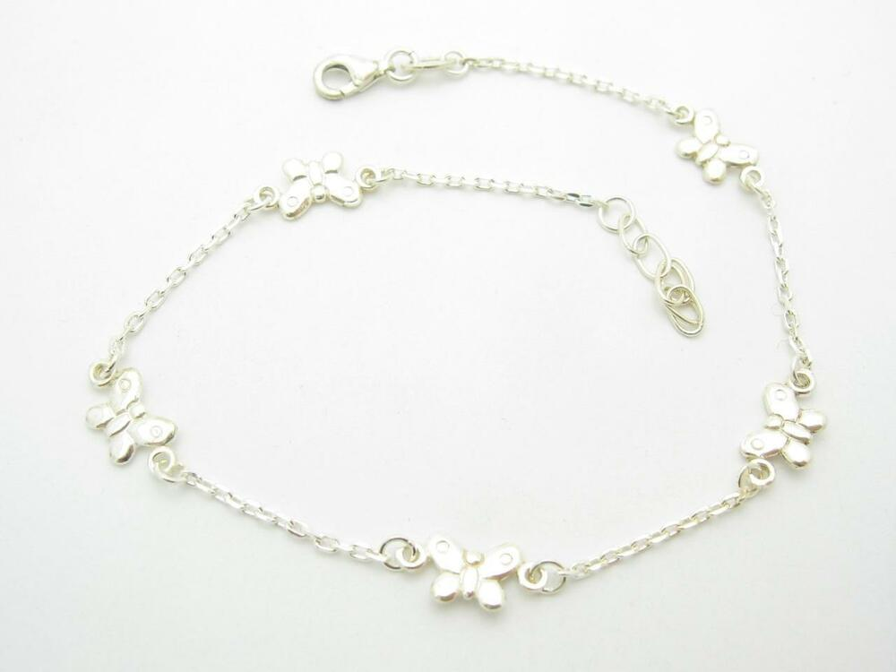 Sterling Silver Unique Butterfly Design Solid Anklet Ankle ...