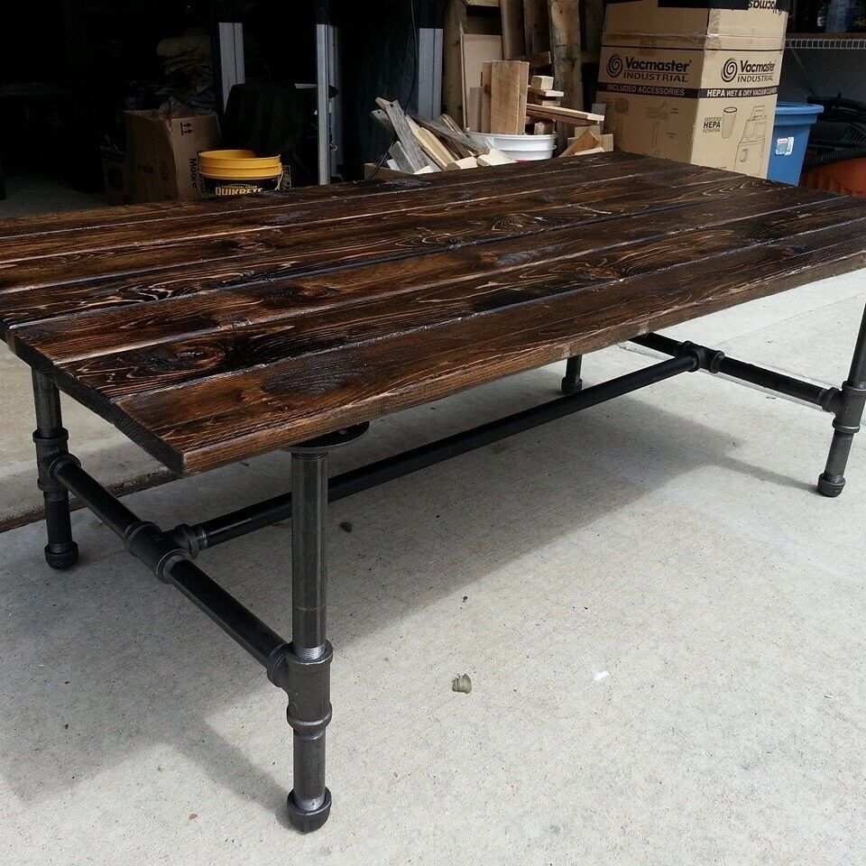 Rustic coffee table with pipe base ebay for Rustic pipe table