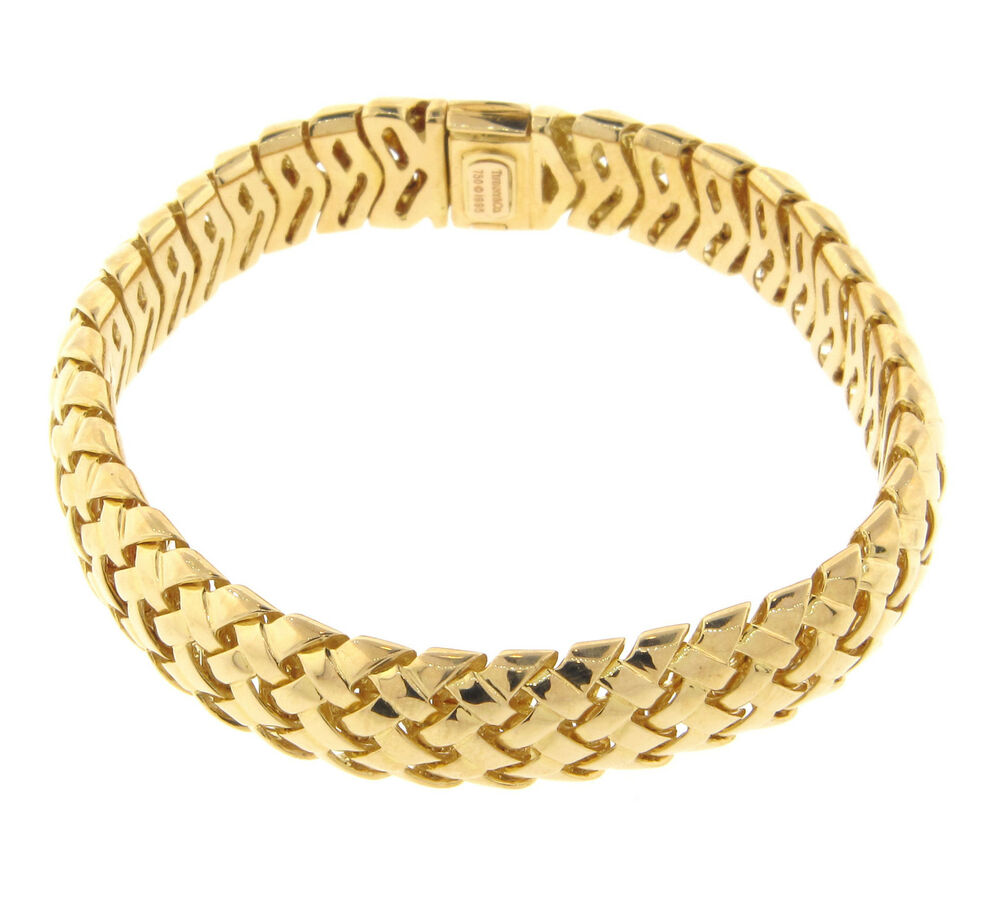 How To Basket Weave Bracelet : Tiffany co vannerie basket weave bracelet k yellow