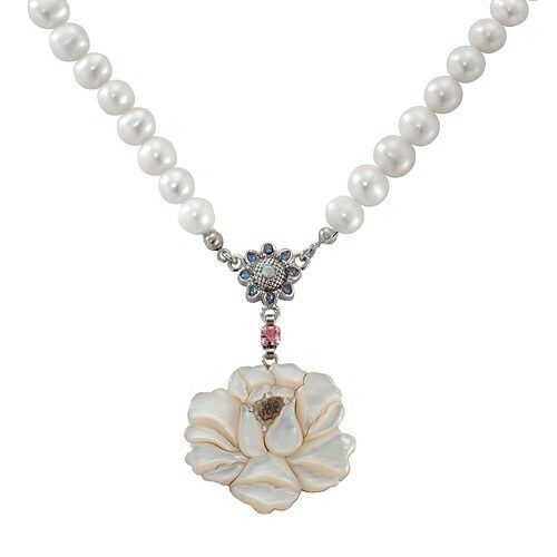 Natural Saltwater Pearl Necklace: Mother Of Pearl Rose Flower Natural Saltwater White Pearl