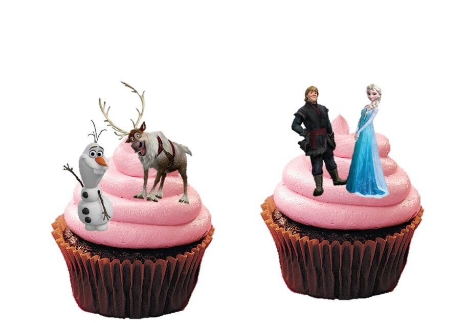 Disney Frozen Characters 16 Stand Up Cupcake Cake Toppers Edible Rice Paper