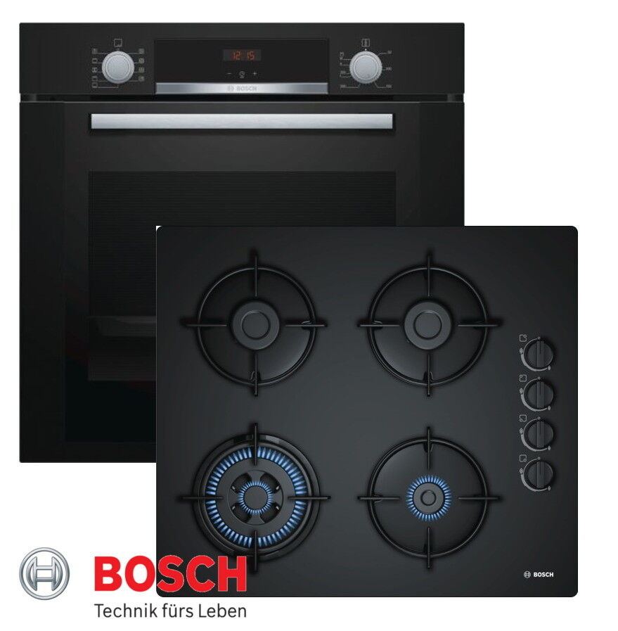 bosch einbau gas herdset autark backofen schwarz gas. Black Bedroom Furniture Sets. Home Design Ideas