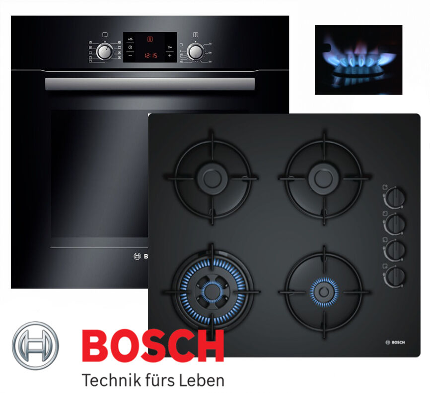 bosch einbau gasherd autark elektro backofen schwarz gas glaskeramik kochfeld ebay. Black Bedroom Furniture Sets. Home Design Ideas