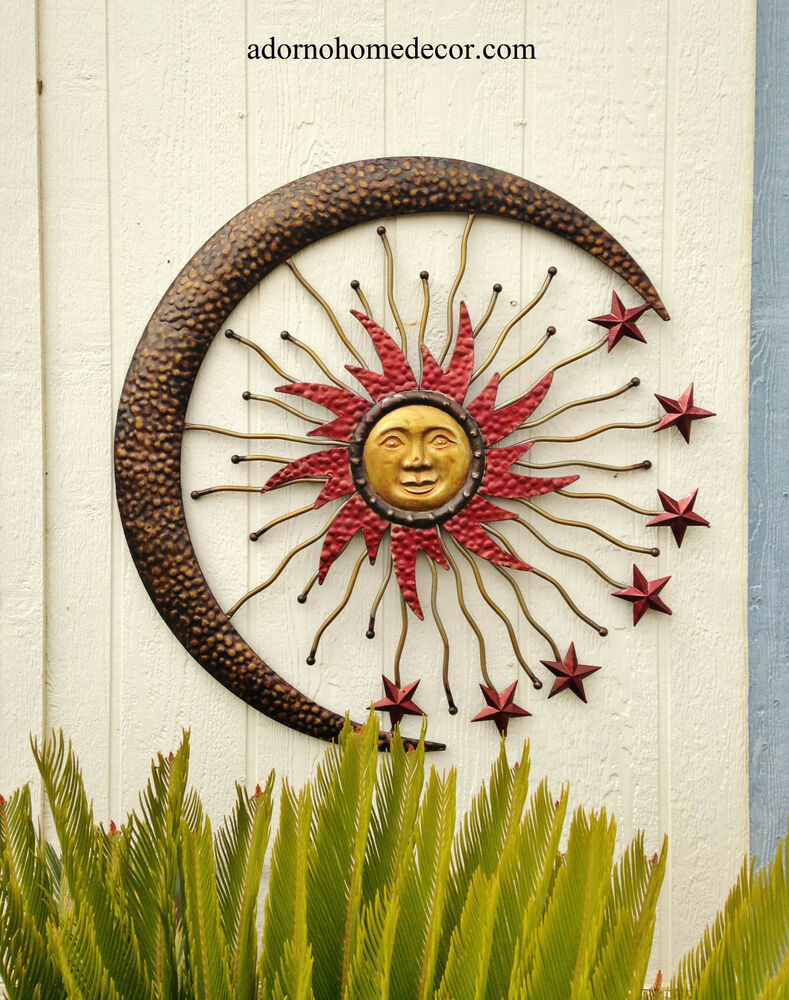 Large metal celestial moon sun decor garden art indoor for Outdoor metal wall art