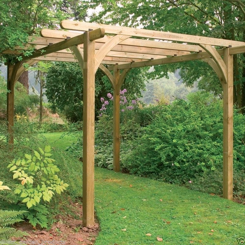 7ft wooden pergola pressure treated timber garden arbour wood patio shelter new ebay for Pressure treated wood for garden