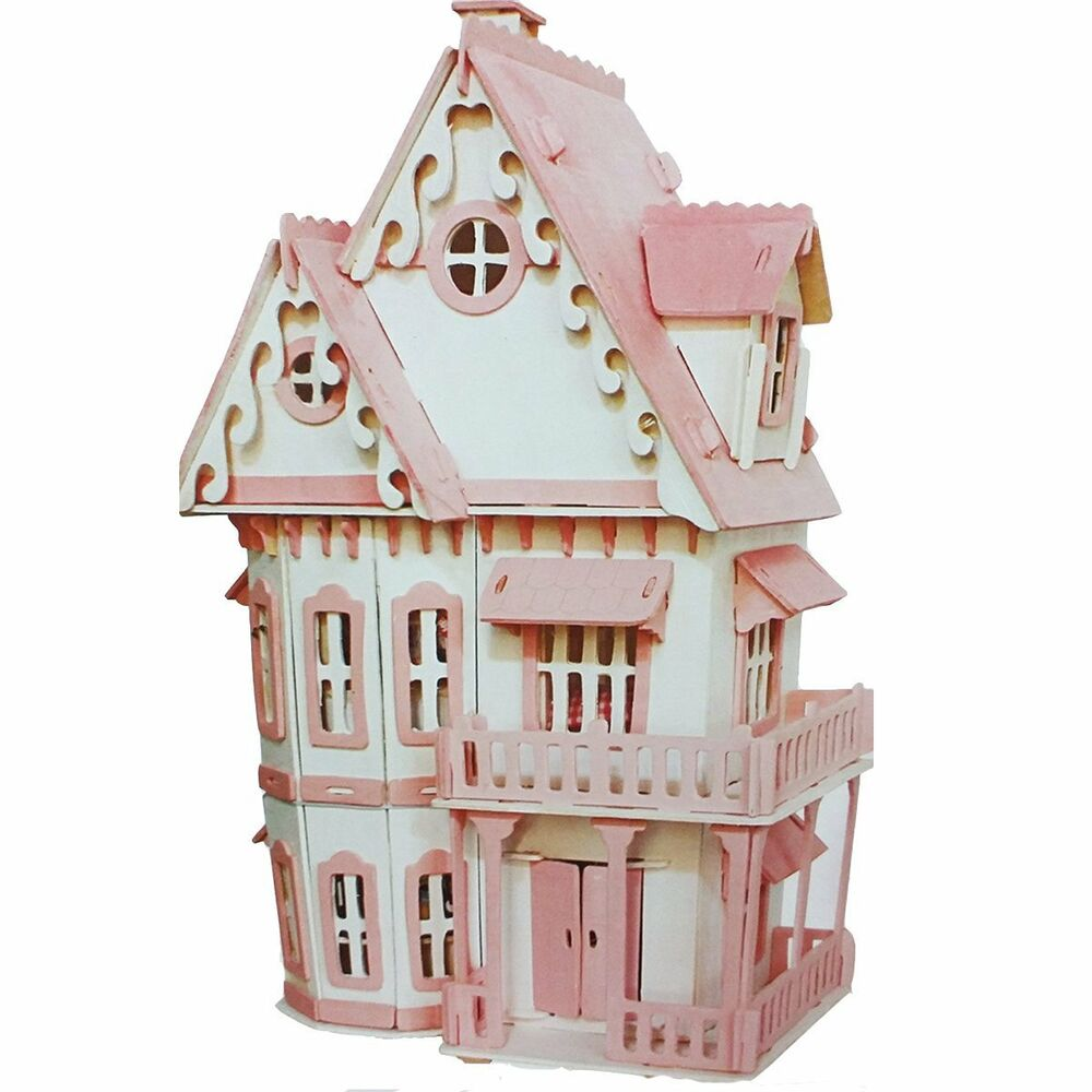 Deao three leven wooden doll house self build model for Doll house lighting