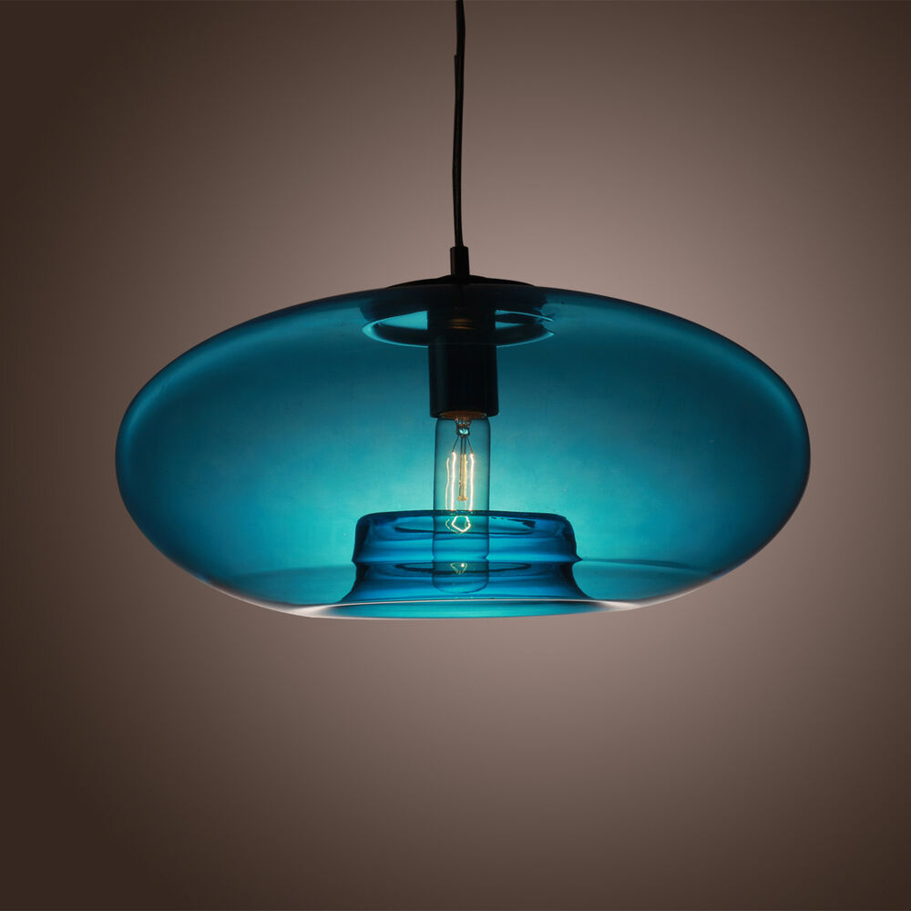 Hanging Lamp Design: Ceiling Hanging Blue Glass Pendant Lamp Bubble Design