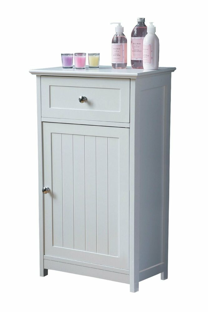 White wooden shaker style floor standing bathroom cabinet for Bathroom storage cabinets floor