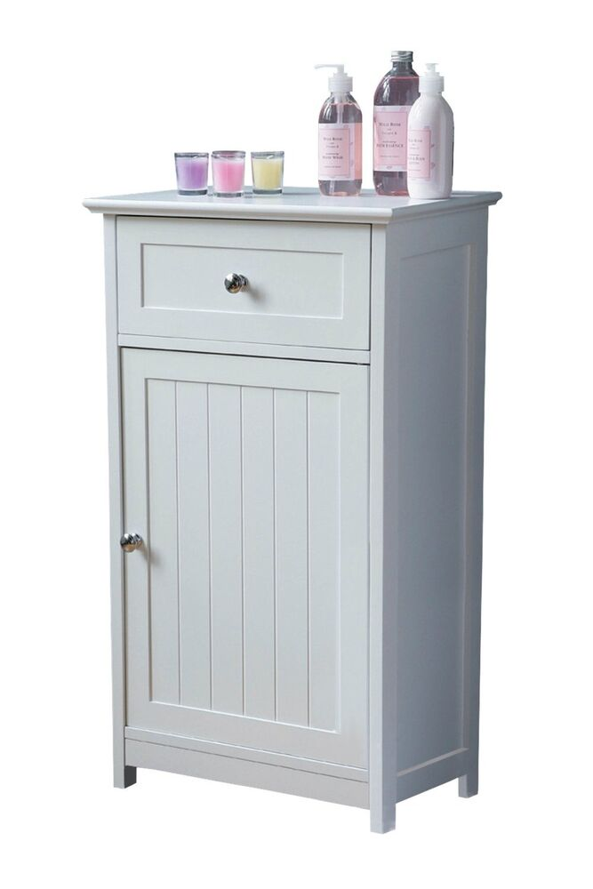 White wooden shaker style floor standing bathroom cabinet storage cupboard ebay for White bathroom cabinets free standing
