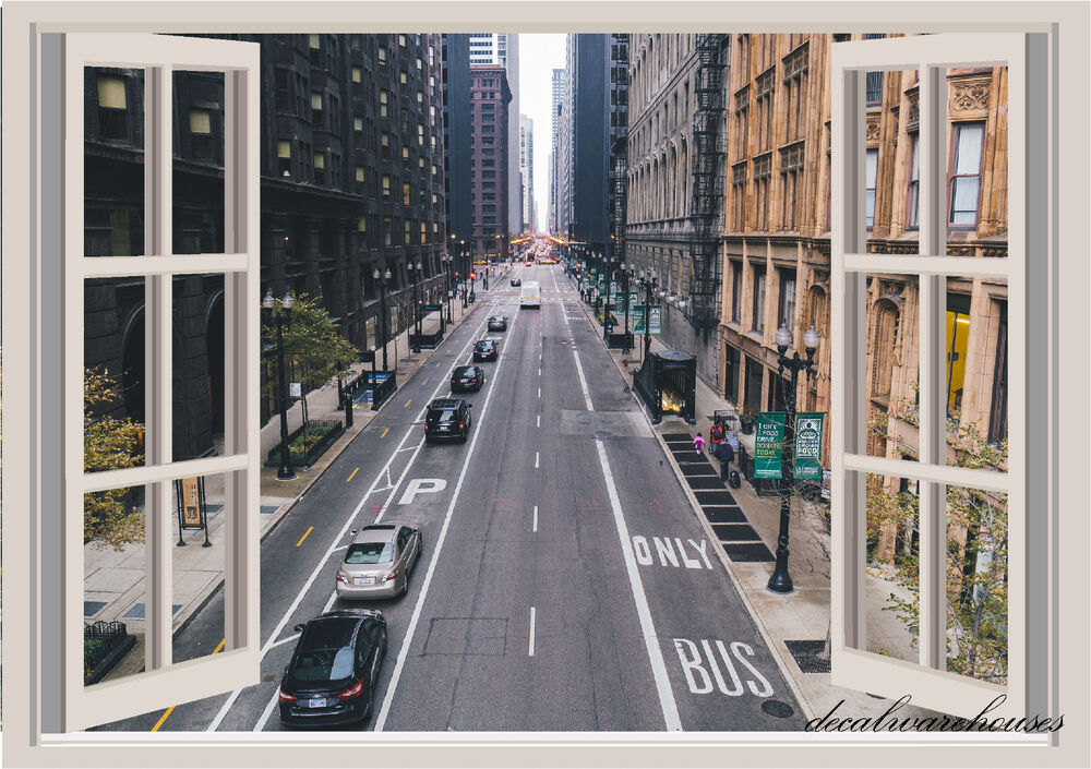 Chicago Street Window View Repositionable Color Wall